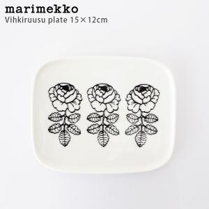 プレート 皿 マリメッコ Vihkiruusu ヴィヒキルース スクエアプレート 15x12cm ホワイト×ブラック|p-s