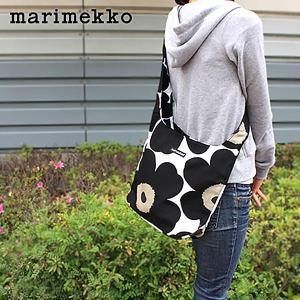 ショルダーバッグ マリメッコ Unikko ウニッコ Clover ホワイト×ブラック