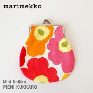 メール便 可 ポーチ マリメッコ がま口 小 Mini Unikko ミニ ウニッコ PIENI KUKKARO イエロー×オレンジ×ピンク|p-s