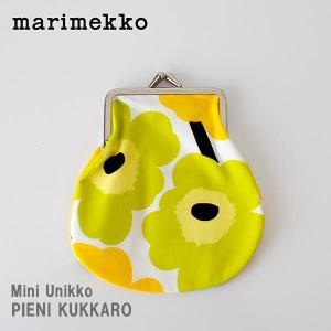 メール便 可 ポーチ マリメッコ がま口 小 Mini Unikko ミニ ウニッコ PIENI KUKKARO ホワイト×ライム|p-s