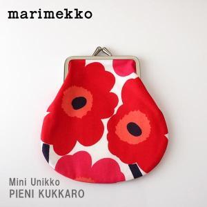 メール便 可 ポーチ マリメッコ がま口 小 Mini Unikko ミニ ウニッコ PIENI KUKKARO ホワイト×レッド|p-s