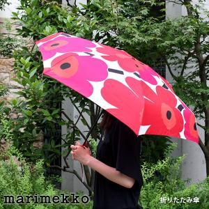 折りたたみ 傘 コンパクト マリメッコ Unikko ウニッコ ホワイト×レッド 手動|p-s