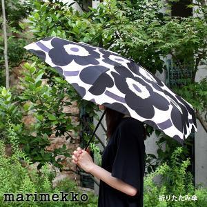 折りたたみ 傘 コンパクト マリメッコ Unikko ウニッコ ホワイト×ブラック 手動|p-s
