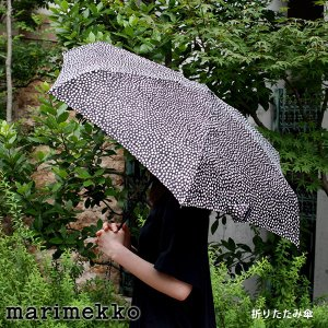 折りたたみ 傘 コンパクト マリメッコ ピルプト パルプト ブラック×ホワイト 手動|p-s
