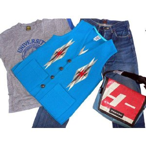 【Ortega's】 オルテガ 手織りチマヨ・ベスト スクエアフロント サイズ36 ターコイズブルー  83SQ-3644|paddies