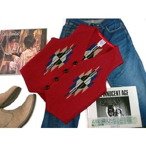 【Ortega's】 オルテガ 手織りチマヨ・ベスト カーディナルレッド サイズ36 83RG-36238|paddies