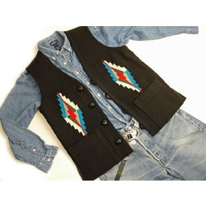 【Ortega's】 オルテガ 手織りチマヨ・ベスト スクエアフロント サイズ38 ブラック【限定色】 83SQ-3872|paddies
