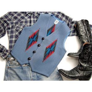 【Ortega's】 オルテガ 手織りチマヨ・ベスト サイズ36 デルフトブルー(サックスブルー) 83RG-36246|paddies