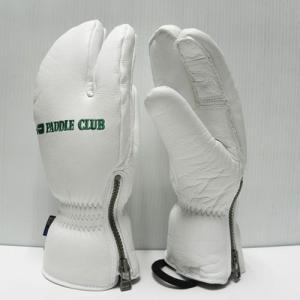 スキーグローブ パドルクラブオリジナルレザーグローブ(3本指タイプ) サイドジップ カラー:White|paddle-sa
