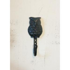 アイアンフック ふくろう ネジ2本付 アンティーク 梟 owl iron DIY paint-color-plaza