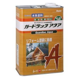 木材保護塗料 ガードラックアクア W・Pステイン ブラウン A-10 3.5K缶 【和信化学工業株式会社】|paintandtool