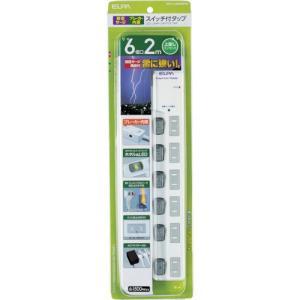 ELPA LEDスイッチ付タップウエブレーカー付(WLSLU620SBW)