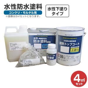 水性防水塗料 4平米セット (アトムハウスペイント/コンクリ・モルタル用)|paintjoy