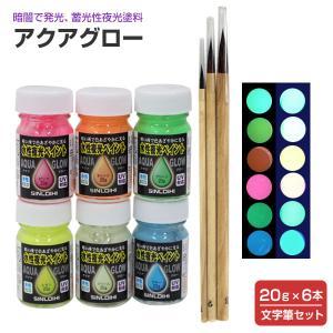 アクアグロー(水性夜光ペイント) 6色(20g×6本)+文字筆セット(蛍光塗料/蓄光塗料/夜光塗料/シンロイヒ)|paintjoy