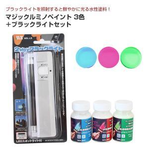 マジックルミノペイント 50g×3色セット+ブラックライト (シンロイヒ)|paintjoy