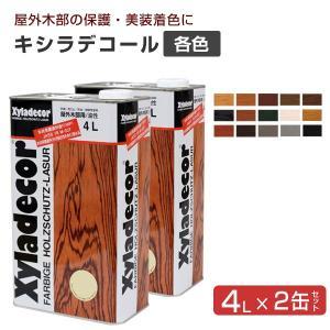 キシラデコール 4L×2缶セット (サンドペーパー付) (日本エンバイロ/油性/木部用)|paintjoy