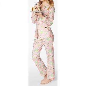 パジャマ レディース ブランド 前開き 長袖 ストレッチ BedHead Pajamas ベッドヘッドパジャマズ Pink Plat Du Jour|pajamas