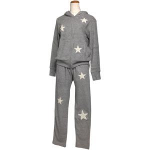 ルームウェア レディース ブランド セット セットアップ 長袖 パイル地 グレー e.si エトワールシーニュ|pajamas