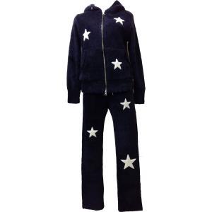 ルームウェア レディース ブランド セット セットアップ 長袖 ベロア ネイビー e.si エトワールシーニュ|pajamas