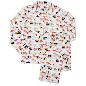 パジャマ レディース ブランド 前開き 長袖 綿 The Cat's Pajamas Sushi White|pajamas