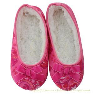 ルームシューズ bSoft バンブー フランネル Pink Paisley|pajamas