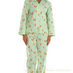 レディースパジャマ あったか Frankie&Johnny Green Foxes|pajamas