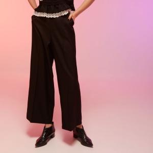 ワイドパンツ レディース 黒 ブラック ストレート 春 春夏|pajamas