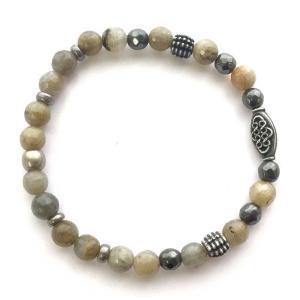 ブレスレット メンズ ブランド ゴム Grey Dawn Elastic Bracelet ラブラドライト Mr.Ettika ミスターエティカ|pajamas