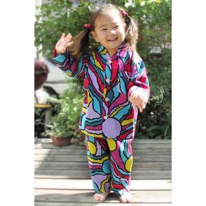 パジャマ キッズ 90cm・100cm 男の子/女の子 綿100% 長袖 前開き 日本製/ド派手 パジャマ|pajamaya