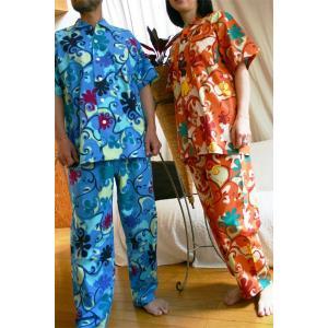 パジャマ 前開き 半袖 春夏用 レディース メンズ 兼用/ド派手アラベスク柄 綿100%|pajamaya