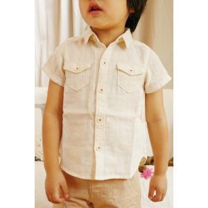 おしゃれな夏のお出かけ着 ベビー服 子供服 半袖シャツ 前開き オーガニックコットン 2重ガーゼ 男の子 女の子 夏服 かっこいい|pajamaya