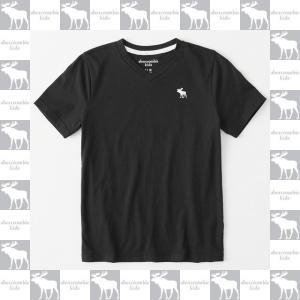 アバクロボーイズ 子供服 男の子 アメカジ キッズ abercrombie kids 2018 正規 ワンポイントムース刺繍 Vネック 半袖Tシャツ ブラック