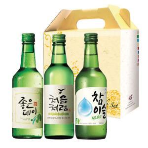 【ギフトセット】焼酎3種セット(360mlX1本)■眞露・初めのように・チャミスル■お酒 韓国お酒 韓国焼酎|paldo