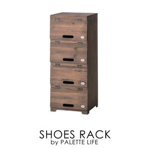 シューズラック スリム 下駄箱 シューズボックス 靴箱 玄関収納 木製 4段|palette-life