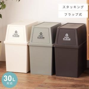 ゴミ箱 30L おしゃれ ダストボックス 屋内用 フタ付き フラップ型|palette-life