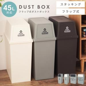 ゴミ箱 45L おしゃれ ダストボックス 屋内用 フタ付き フラップ型|palette-life