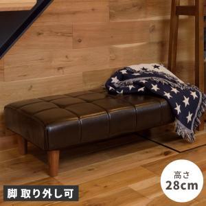 ベンチ 椅子 おしゃれ 100cm ロータイプ ロビーベンチ レザー ポケットコイル palette-life