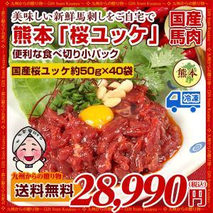国産 桜ユッケ(馬肉)40パック X 約50g 計約2000g 小分けパック 熊本名産 馬刺 送料無料 お取り寄せ ギフト ヘルシー 馬刺し得々セール|palm-gift