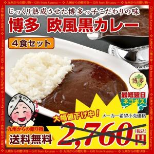 【期間限定】レトルト カレー  博多 欧風黒カレー ×4食セット 食品 グルメ お取り寄せ 送料無料 1000円 ビーフカレー 訳あり わけあり 食品 牛肉 得トクセール|palm-gift