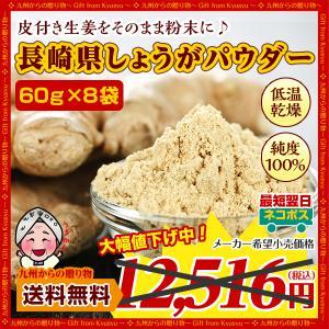 期間限定セール 生姜 長崎県産しょうがパウダー60g×8袋 純度100% 長崎県諫早産の生姜をまるごと低温乾燥 しょうが パウダー グルメ 食品 訳あり b1|palm-gift