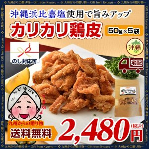 国産鶏使用カリカリ鶏皮50g×5袋セット 送料無料 おつまみ...