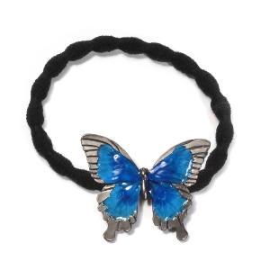 蝶々 青 ちょう ヘアゴム おしゃれ おとな ヘアアクセ レディース PalnartPoc パルナートポック プレゼント   オオルリアゲハヘアゴム|palnartpocstore
