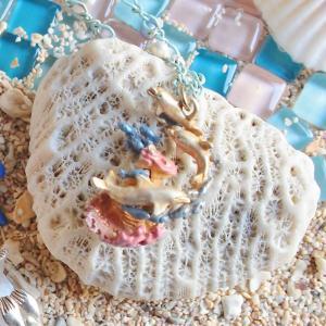 イルカ 海 珊瑚 可愛い 赤 ネックレス レディース ロング PalnartPoc ブランド パルナートポック直営 プレゼント オーシャンブルーネックレス|palnartpocstore