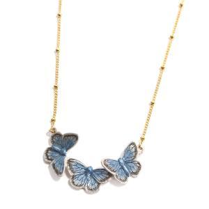 蝶々 ブルー ネックレス レディース PalnartPoc ブランド パルナートポック直営 プレゼント  ヤマトシジミチョウネックレス|palnartpocstore