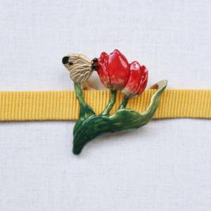 おしゃれな帯留め 花 チューリップ 蝶々 モンキチョウ 帯留め PalnartPoc直営 アクセサリー 可愛い ブランドパルナートポック直営店 オランダ 帯留め|palnartpocstore