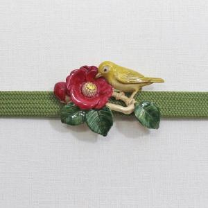 おしゃれな帯留め 花 鳥 PalnartPoc直営 アクセサリー 可愛い ブランドパルナートポック直営店 椿とメジロ帯留め|palnartpocstore
