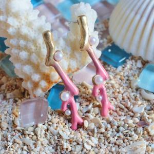 珊瑚 サンゴ 海 可愛い ピアス レディース サージカルステンレス PalnartPoc ブランド パルナートポック直営 プレゼント サンゴの欠片(ピンク)|palnartpocstore