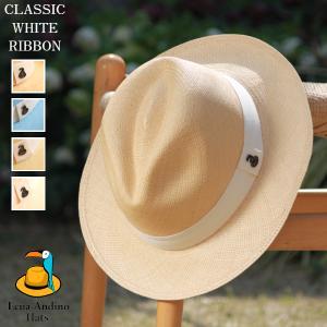 クラシック ホワイトリボン5color ハット メンズ レディース パナマハット 帽子 エクアアンデ...