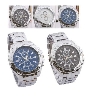 3色選べる メンズ腕時計 FASHION SPORTS腕時計 ウォッチベルト メンズ ラウンド カラー豊富 ブラック 黒 白 クリスタル オシ