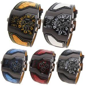 2フェイス腕時計 oulm 腕時計 メンズ 時計 アナログ スポーツ腕時計メンズカジュアルレザー ファッション 男性 ウォッチ オシャレ ビジュアル
